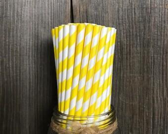 100 Yellow Stripe Paper Straws, Birthday Party Supply, Baby Shower, Wedding Supplies, Bridal Shower, Picnic Paper Goods, Cake Pop Sticks