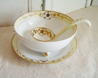 Vintage Nippon Porcelain 3 Piece Footed Mayonnaise Bowl Plate Spoon Yellow White Gold Hand Painted Crown Mark