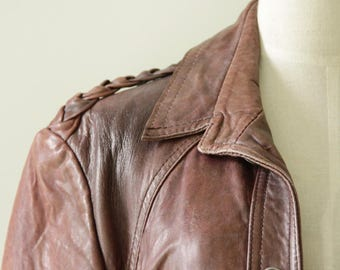 60s Brown leather jacket. Biker jacket. Leather hippy jacket. Button up leather jacket. leather bomber jacket. Cognac Motorcycle jacket