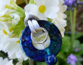 hand painted washer pendant, blue gemstone necklace, upcycled recycled jewellery, blue agate crystal pendant, satin cord,
