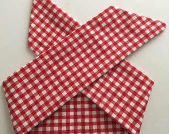 Red and White Gingham Handmade Fabric Pinup-Inspired Head Scarf