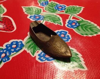 Vintage brass shoe or slipper-India