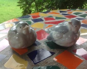 Vintage pair of ceramic hand painted Otagiri bird figurines- Japan