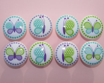 Girls Purple Blue and Green  Butterfly Dresser Drawer Knobs Set of 8