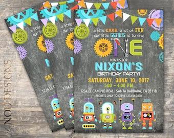 Fun Robots Gears and Chalkboard Birthday Invitation Card- Printable File