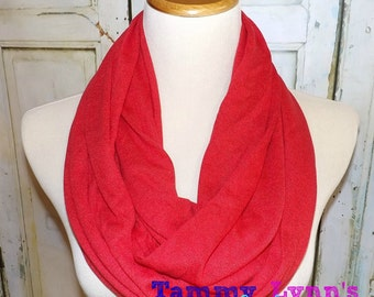 NEW!  Solid RED Polyester Knit Blend Valentine's Day Infinity Scarf Women's Accessories