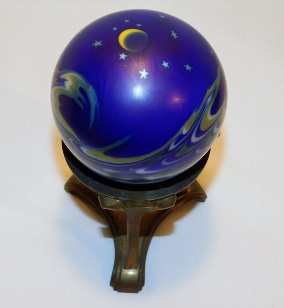 1993 Lundberg Studios Art Glass Paperweight Moon Stars Signed Numbered w/Stand