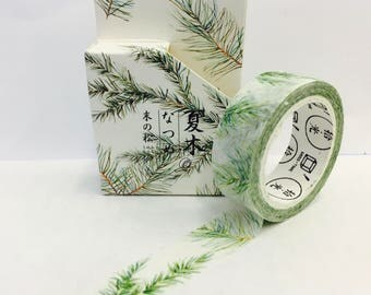 Watercolor Wispy Evergreen Branches  Paper Washi Tape Scrapbooking Decoration Sticker  - Planner Accessories