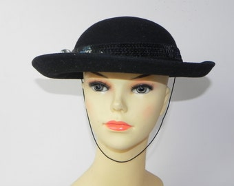 Vintage 60s felt Hat 100%Wool Black Sequence Decoration w/a Pin Made in USA