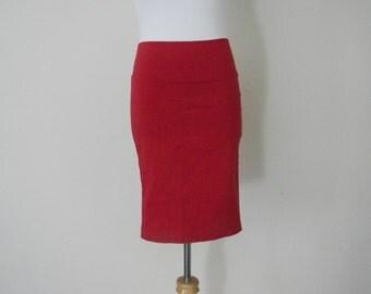 FREE usa SHIPPING Vintage  spandex retro 1990's pencil red tight skirt elastic waist size M