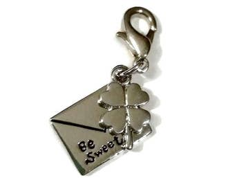 Silver Lucky CLOVER Charm BE SWEET Love Letter Zipper Pull Envelope Shamrock Phone Stitch Marker Planner Charm Craft Jewelry Supply Gift