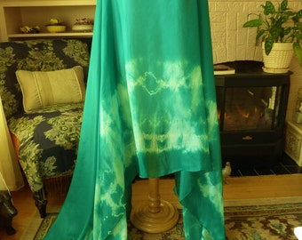Silk Belly Dance Veil Emerald Green Tie Dye Silk Veil