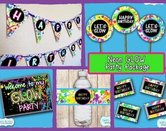 Neon GLOW in the Dark Party Package DOWNLOAD / Blacklight Birthday Party / Glow Party / Neon Birthday - File to Print DIY
