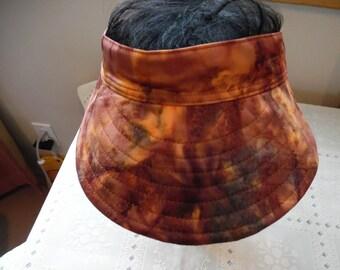 FALL COLORS Batik Sun Visor/ Womens Sun Visor / Garden Hat / Golf Hat / Womens Hat