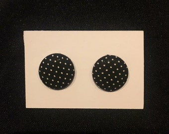 Black and White Polka Dotted Earrings