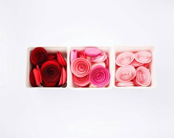 Paper Flowers, Ombre Paper Roses, Pink Roses, Red Roses, Table Scatter, Valentines Day Decor, Wedding Centerpieces, Favors, Spiral Roses