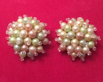 Lovely Vintage 50's Mint Green, Pale Pink, and Ivory Pearl Button style Clip On Earrings
