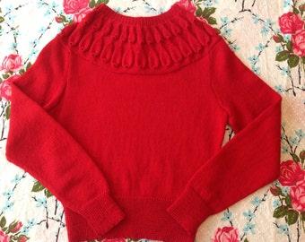 Vintage ladies 1950's hand knit top rockabilly retro Scarlet red pullover jumper