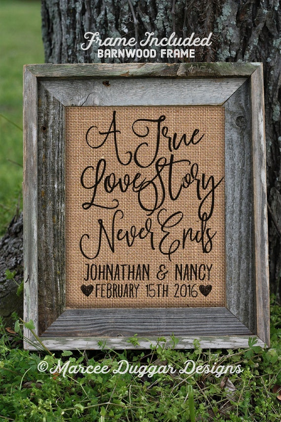 Framed Wedding Gift | Anniversary Gift | Burlap Gift | True Love Story |Valentines Day | Couple Gift | Personalize | 8x10 | #0237