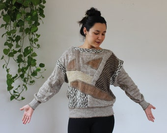 Vintage Sweater 70's 3D Wool Blend Italy