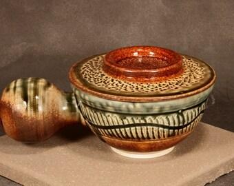 Covered Shaving Mug, Porcelain Blend, Chattered, Carved, Brown with Green Ash Glaze