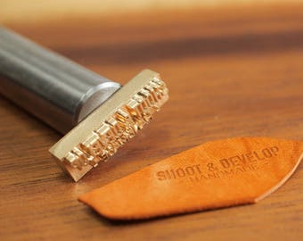 Personalized Leather stamp with hammering handle - brass stamp for leather embossing