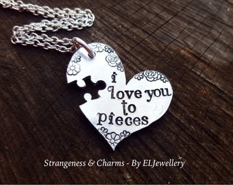 Hand Stamped 'I Love You to Pieces' Puzzle Heart Necklace, Couples Gift, Jigsaw Heart, Autism, Stamped Jewellery, Jigsaw Puzzle, Unique.