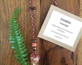 COURAGE • Carnelian Macrame Necklace