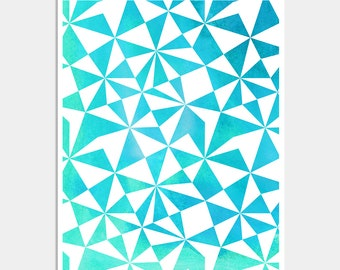 Turquoise Abstract Geometric Art Print