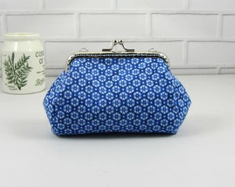 Coin purse, clasp pouch, blue cotton purse, handmade purse,  clutch purse, change purse, kiss lock purse