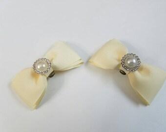Ivory Single Pearl Shoe Clips