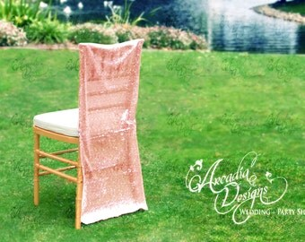 Rose Gold Sparkly Bridal Chair Cover, Sequin Chiavari Chair slipcover for Bridal Shower Wedding Ceremony Reception Engagement Decor IN STOCK