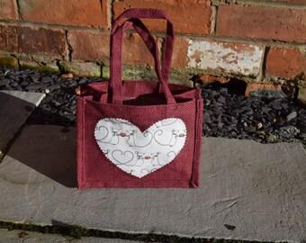 LIMITED EDITION Valentines Bag, Gift Bag, Heart Bag, Jute Bag, Valentines Gift, Valentines Gift Bag, Handmade Heart Bag, Love Bag