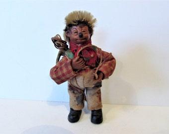 Small Vintage Peter Steiff Hedgehog Peter Mountaineer Collectable Doll/Ornament   / MEMsArtShop.