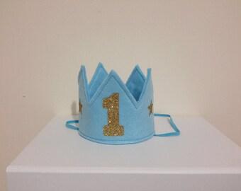Blue and gold mini crown, 1st Birthday crown, First birthday cake smash crown, blue crown, boys 1st Birthday, Birthday boy