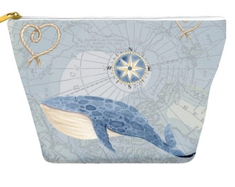 Nautical Whale Map pencil case, blue gray, makeup bag, travel, small gifts, zipper pouch T-bottom