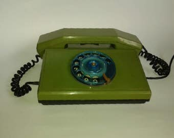 Vintage rotary green telephone, Vintage telephone, Rotary phone,  Green retro home decor. USSR antique telephone socialist period