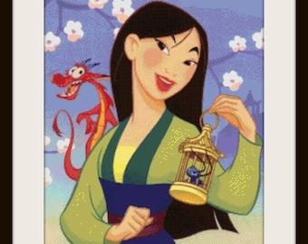 cross stitch pattern, cross stitch, Amazing Princess Mulan - cross stitch pattern - PDF pattern - instant download!