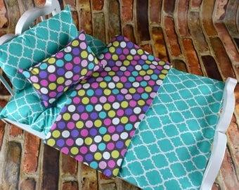 "18 inch Doll Bedding Set | Polka Dot bedding | 18"" Doll Bedding Blanket Mattress | Doll Bedding Set | American Girl Doll Bedding |"