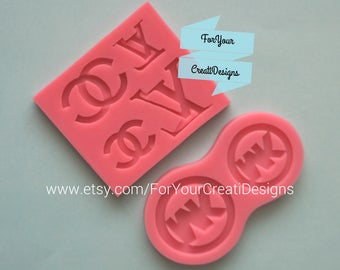 Fashion Themed Silicone Mold for chocolate, fondant, resin, clay. 2 pieces LOT.