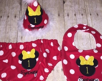 Minnie Mouse Cake Smash Outfit - Girls First Birthday Outfit - Red Dots - Minnie First Birthday Outfit - Bloomers Hat Bib - Embroidered