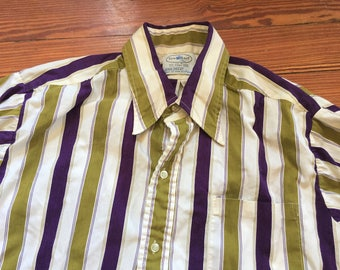 Vintage 60s Penney's Green Purple Stripe Rayon Cotton Mod Shirt 16 1/2