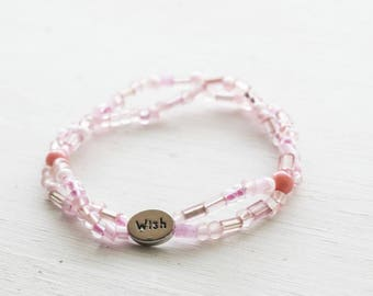 Fun Whimsical Pink Beaded Stretch Bracelet with Wish Charm