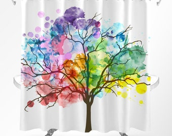 Tree Shower Curtain, Watercolor Shower Curtain, Rainbow Curtain, Nature Shower  Curtain, Shower