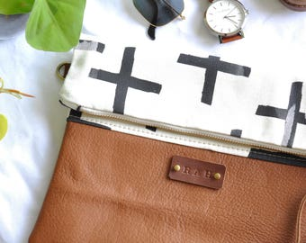 Leather Clutch Purse Bag - Foldover Clutch Purse - Crossbody bag - Made in Australia - Leather Bag