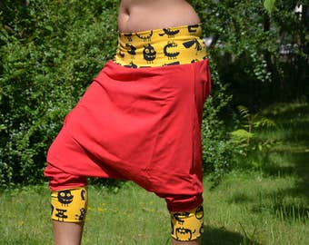 joga harem drop crotch pants red yellow monsters 40
