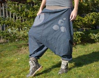 jeans yoga harem pants drop crotch denim blue pre washed big size
