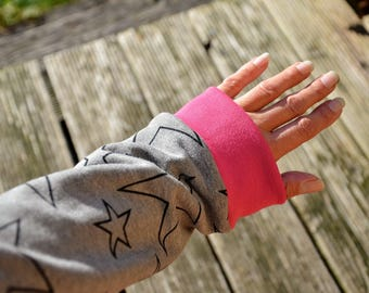Arm warmers Drygloves grey pink star