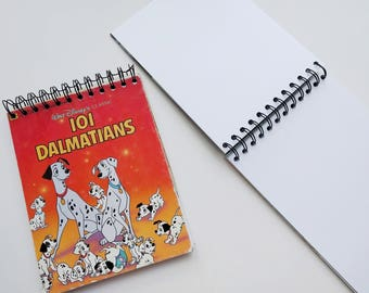 Disney 101 dalmatians dogs Little Golden Book Upcycled Sketchbook Notebook, Drawing Pad