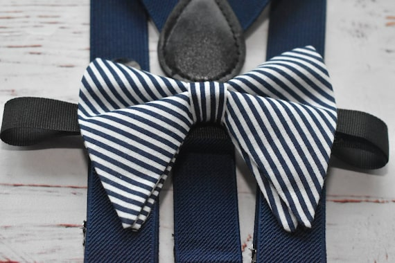 Navy and White Stripe Butterfly / Floppy Bow Tie  for Baby, Toddlers and Boys (Kids Bow Ties) with Braces / Suspenders